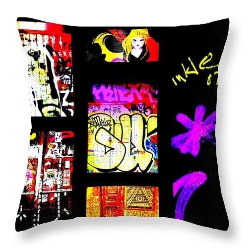 Graffiti Throw Pillow featuring the photograph Barcelona Graffiti by Funkpix Photo Hunter