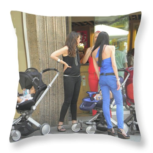 Marwan Khoury Throw Pillow featuring the photograph Barcelona Moms by Marwan George Khoury