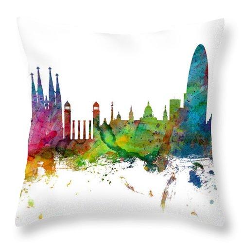 Barcelona Throw Pillow featuring the digital art Barcelona Spain Skyline Panoramic by Michael Tompsett