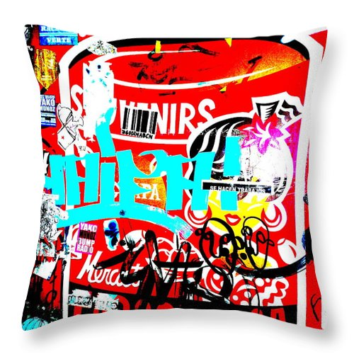 Graffiti Throw Pillow featuring the photograph Barcelona Street Graffiti by Funkpix Photo Hunter
