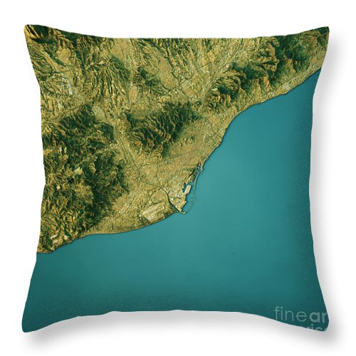 Barcelona Throw Pillow featuring the digital art Barcelona Topographic Map Natural Color Top View by Frank Ramspott