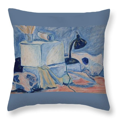 Still Life Throw Pillow featuring the pastel Bare Bones by Jean Haynes