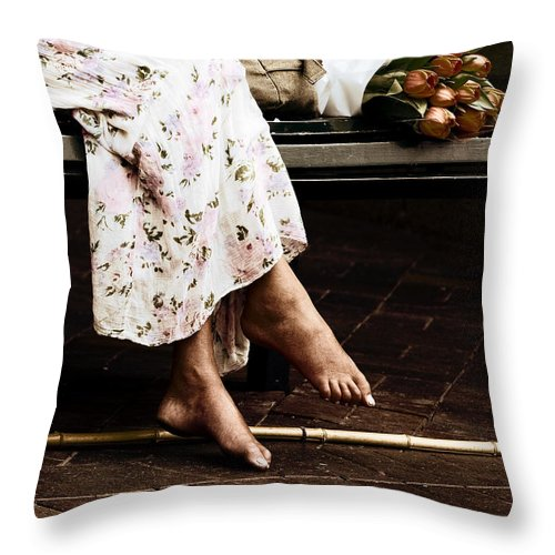 Barefeet Feet Barefoot Tulips Throw Pillow featuring the photograph Barefoot And Tulips by Sheila Smart Fine Art Photography