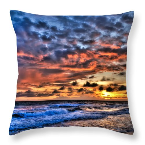 Sunset Throw Pillow featuring the photograph Barefoot Beach Sunset by Rich Leighton