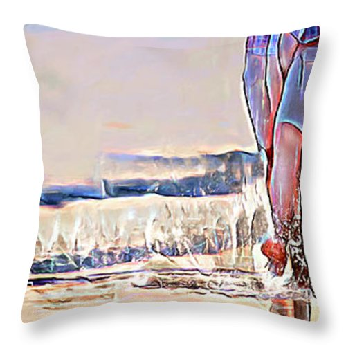 Ocean Throw Pillow featuring the digital art Barefoot In The Sea by Pennie McCracken