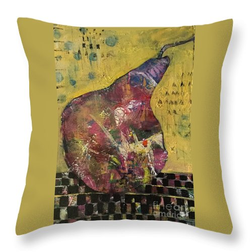 Pear Throw Pillow featuring the painting Barely A Pair 1 by Gail Butters Cohen