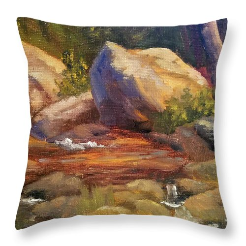 Rocks Throw Pillow featuring the painting Barely a Trickle by Sharon E Allen