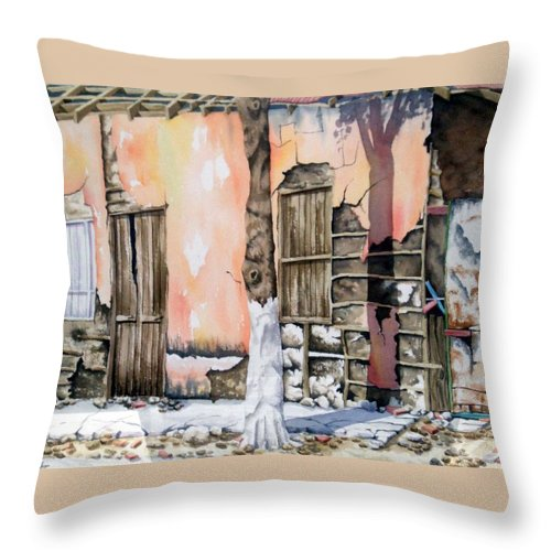 Lanscape Throw Pillow featuring the painting Bareque II by Tatiana Escobar