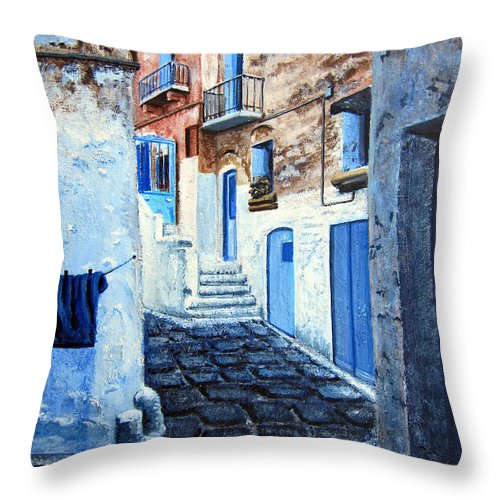 Landscape Throw Pillow featuring the painting Bari Italy by Leonardo Ruggieri