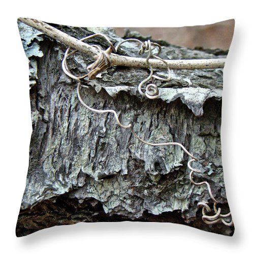 Tree Throw Pillow featuring the photograph Bark - Lichen - Cat Brier Tendrils by Mother Nature