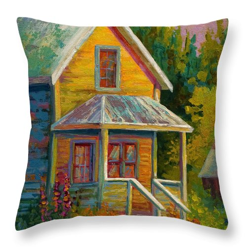 Historic Throw Pillow featuring the painting Barkerville Orphan by Marion Rose