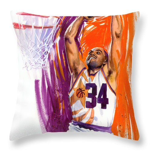 Charles Barkley Throw Pillow featuring the painting Barkley by Ken Meyer jr