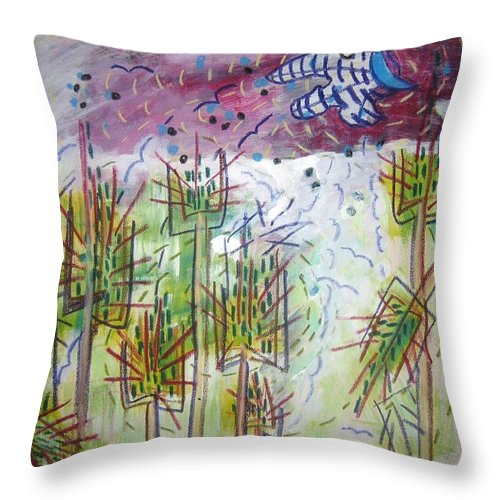 Barly Paintings Throw Pillow featuring the painting Barly And The Blue Moon by Seon-Jeong Kim