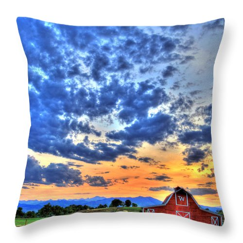 Colorado Throw Pillow featuring the photograph Barn And Sky by Scott Mahon