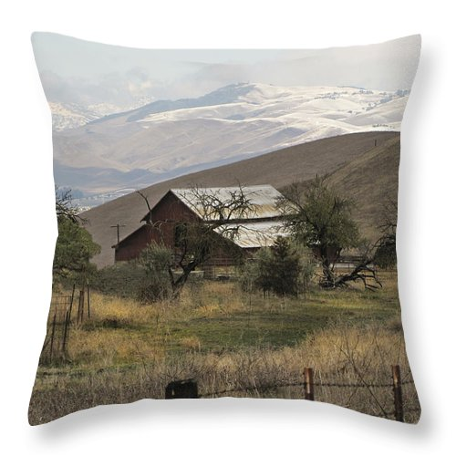 Barn Throw Pillow featuring the photograph Barn And Snow by Karen W Meyer