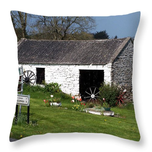 Ireland Throw Pillow featuring the photograph Barn At Fuerty Church Roscommon Ireland by Teresa Mucha