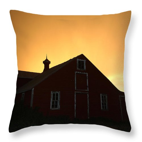 Barn Throw Pillow featuring the photograph Barn at Sunset by Jerry McElroy