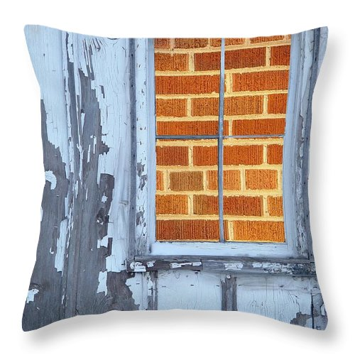 Barn Throw Pillow featuring the photograph Barn Brick Window by Tim Allen