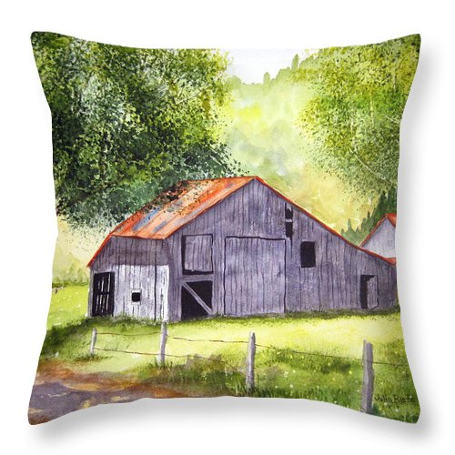Nc Throw Pillow featuring the painting Barn By The Road by Julia RIETZ