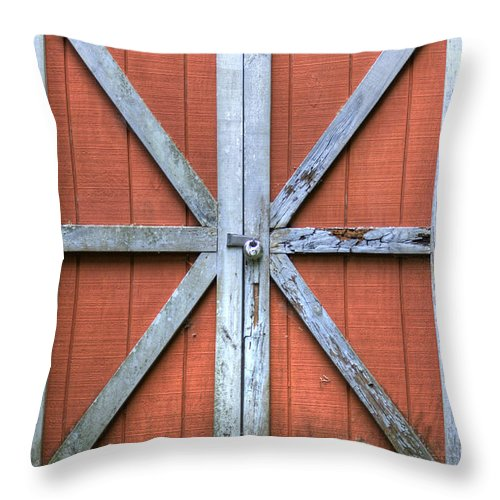Barn Door Red Lock White Cross Dustin Ryan Charleston South Carolina Colorful Brittish Flag Throw Pillow featuring the photograph Barn Door 3 by Dustin K Ryan