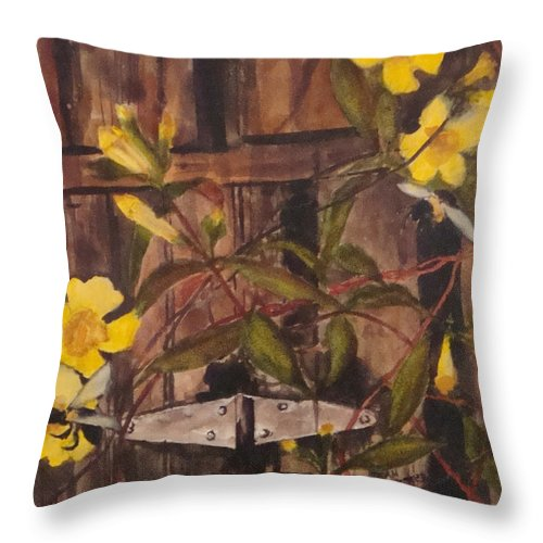 Flower Throw Pillow featuring the painting Barn Door Hinge by Jean Blackmer