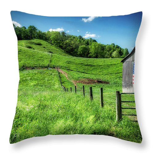 Farm Life Throw Pillow featuring the photograph Barn Flag by Jim Love