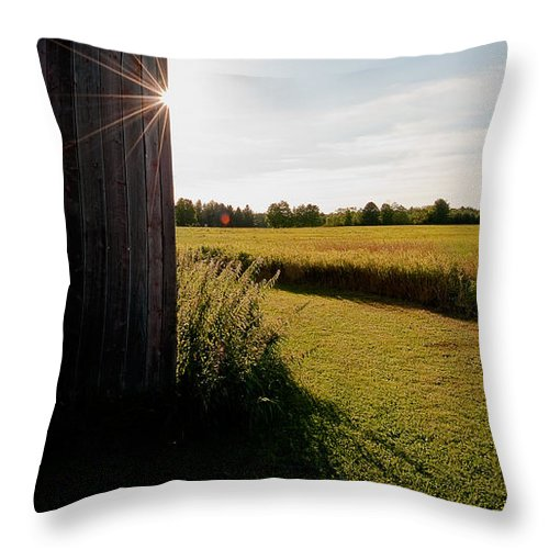 Barn Throw Pillow featuring the photograph Barn Highlight by Steven Dunn