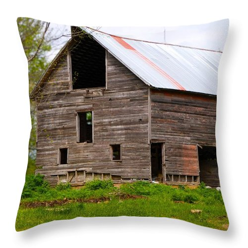 Old Barn Throw Pillow featuring the photograph Barn in 3D by Toni Berry