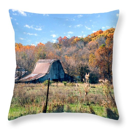 Landscape Throw Pillow featuring the photograph Barn In Liberty Mo by Steve Karol