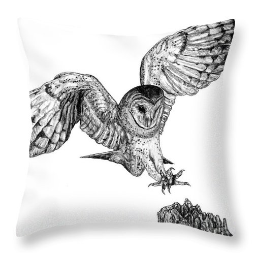 Barn Owl Throw Pillow featuring the drawing Barn Owl by Dan Pearce