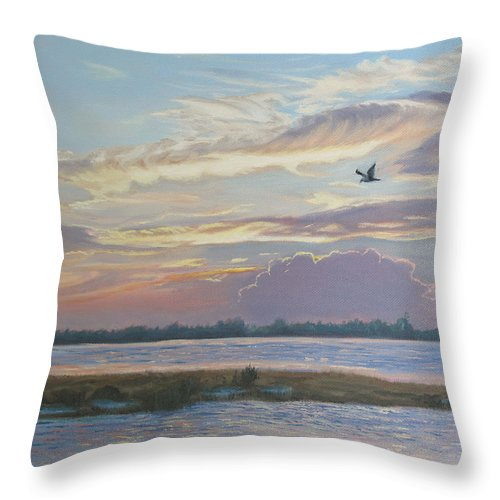 Sunset Painting Throw Pillow featuring the painting Barnegat Bay At Sunset by Lea Novak