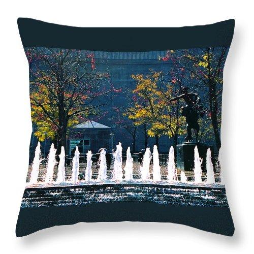 Landscape Throw Pillow featuring the photograph Barney Allis Plaza-kansas City by Steve Karol