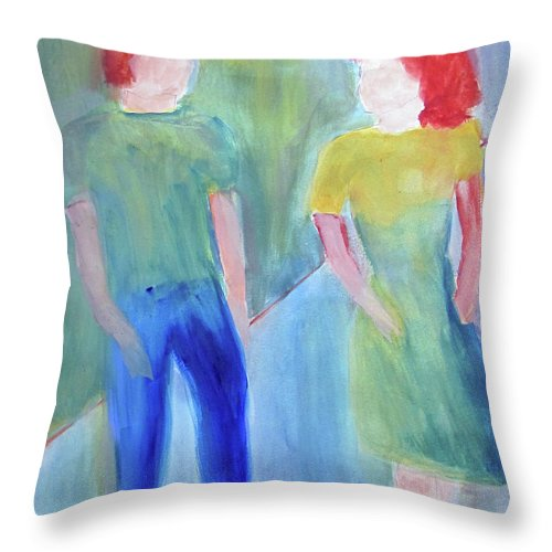 Boy Throw Pillow featuring the painting Barney And Elizabeth by Sandy McIntire