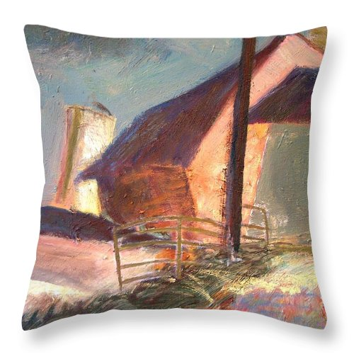 Dornberg Throw Pillow featuring the painting Barns And Pens For The Animals by Bob Dornberg