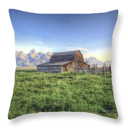 Hdr Barns Mormon Row Throw Pillow featuring the photograph Barns by Mark Andrews