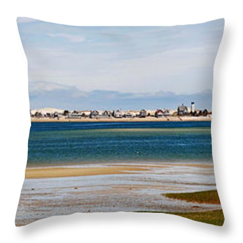 Barnstable Throw Pillow featuring the photograph Barnstable Harbor Panorama by Charles Harden