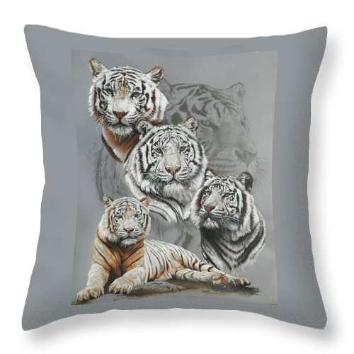 Tiger Throw Pillow featuring the mixed media Baron by Barbara Keith