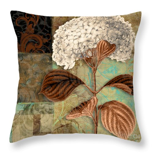 Hydrangea Throw Pillow featuring the painting Baroque Hydrangea Patchwork by Mindy Sommers