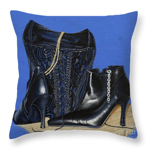 Baroque Still Life Boots Pearls Basque Bracelet Velvet Lace Black Heels Throw Pillow featuring the painting Baroque Still Life by Pauline Sharp
