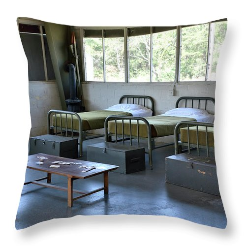 Barracks Throw Pillow featuring the photograph Barrack Interior At Fort Miles - Delaware by Brendan Reals