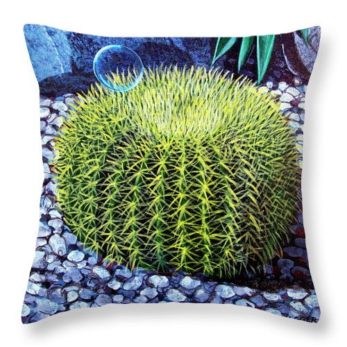 Nature Throw Pillow featuring the painting Barrel Bubble by Snake Jagger