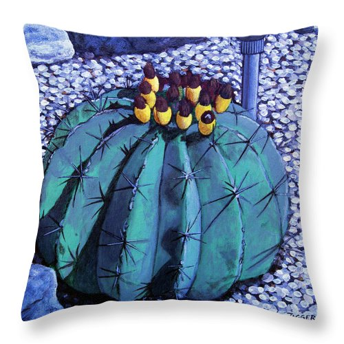 Nature Throw Pillow featuring the painting Barrel buds by Snake Jagger