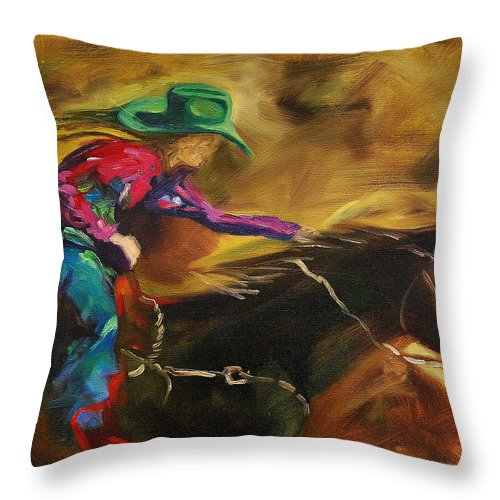 Western Art Throw Pillow featuring the painting Barrel Racer by Diane Whitehead