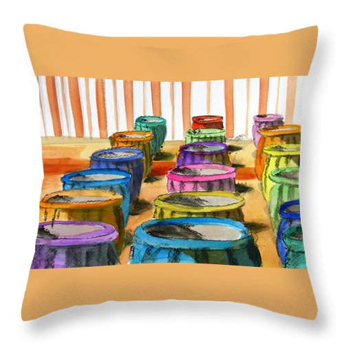 Barrels Throw Pillow featuring the painting Barrels Of Color by Vic Delnore
