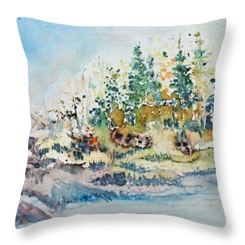 Landscape Throw Pillow featuring the painting Barrier Bay by Joanne Smoley