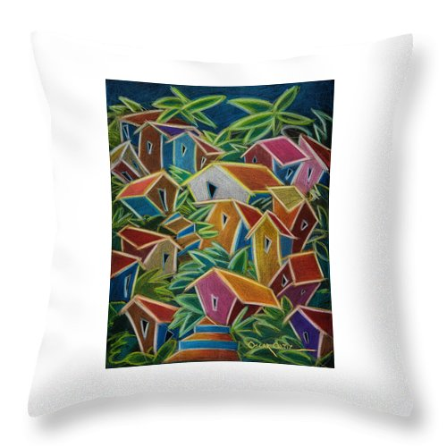 Landscape Throw Pillow featuring the painting Barrio Lindo by Oscar Ortiz
