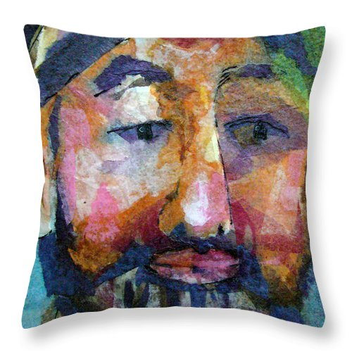 Beard Throw Pillow featuring the painting Barry Hornblower by Arline Wagner