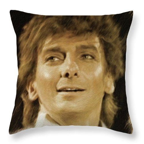 Barry Throw Pillow featuring the painting Barry Manilow, Music Legend by Mary Bassett