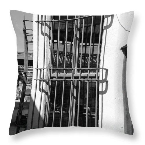 Train Station Throw Pillow featuring the photograph Bars by Rob Hans