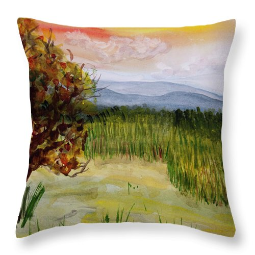 Barton Throw Pillow featuring the painting Barton Sunset by Donna Walsh